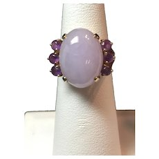 14k Yellow Gold Lavender Jade and Amethyst Ring