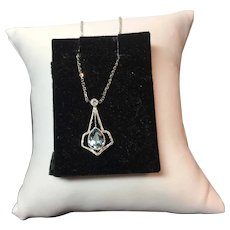14k White Gold Deco Aqua and Diamond  Necklace