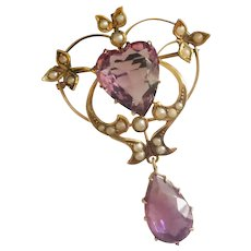 10k Yellow Gold Amethyst and Seed Pearl Brooch / Pendant