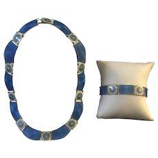 Sterling Danish Enamel Jewelry Set