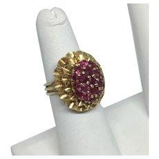 14k Yellow Gold Ruby Flower Ring