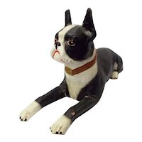 RARE c1930s Old King Cole Bryant Pup Paper Mache Advertising Store Display Boston Terrier Dog