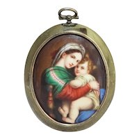 Mini Old Mother & Child Painting on Porcelain in Brass Frame