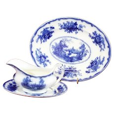 Antique Pearl Pottery Flow Blue Nankin Oriental Gravy Boat, Underplate & Platter