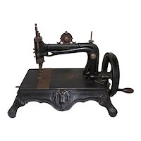 RARE Antique 1880s Bremer & Bruckmann Cast Iron Brunonia Sewing Machine -WORKS-