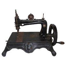 RARE Antique 1880s Bremer & Bruckmann Cast Iron Brunonia Sewing Machine -WORKS-