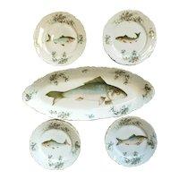 Old Carlsbad Austria Fish Motif Platter & 12 Plates Dish Fish Serving Set