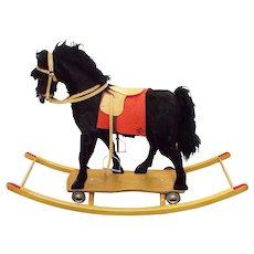 RARE Old Large Meier Spielwaren German Handmade Child's Rocking & Rolling Horse Toy