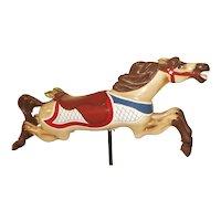 LARGE Old Antique C.W. Parker Jumper Carousel Horse Restored Fish on Saddle