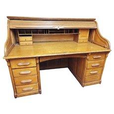 LARGE Antique A. Petersen & Co. Chicago Oak Roll Top Secretary Desk