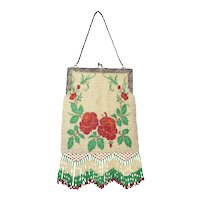 LARGE Old Red Roses Micro Beaded Purse Handbag