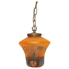 Old Brass Reverse Painted Art Glass Hanging Hall Lamp