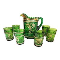 Old 7pc. Northwood Green Glass Peach Pattern Pitcher & Glasses Set