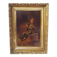 Old Shoeshine Boy Sitting on Box Framed Painting