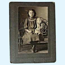 CDV Cabinet Card Young Girl and German Dolly