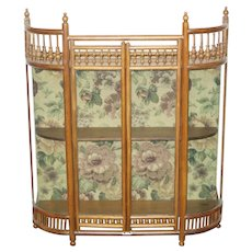 Antique Oak Curved Glass Curio Wall Cabinet, Stick & Ball Design