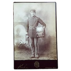Antique Cabinet Card Drummer Man, Marching Band Uniform