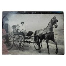 Tintype Horse Drawn Carriage, Mother and Child
