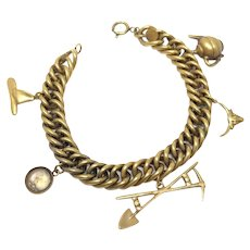 Joseff of Hollywood 1950s Vintage Gold Rush Charm Bracelet