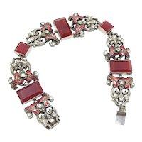 1930s Red Glass and Enamel Vintage Silver Tone Bracelet