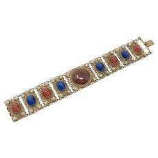 1910s Czechoslovakian Glass Cabochon and Filigree Vintage Panel Bracelet