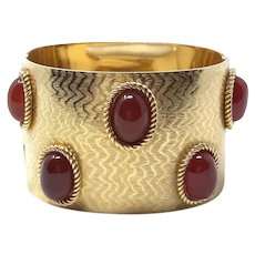 Christian Dior 1968 Gold Plated Glass Cabochon Detailed Vintage Cuff