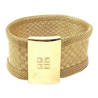 Givenchy 1980s Gold Plated Mesh and Logo Detailed Vintage Cuff Bracelet