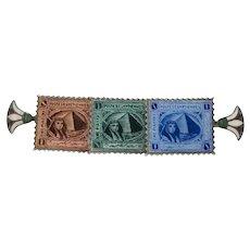 1920s Egyptian Revival Enamel Vintage Stamp Brooch