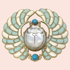Piel Frères c.1900 Gilt Metal, Enamel and Glass Scarab Design Antique Buckle