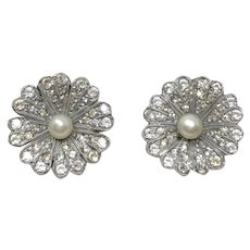 1940s Paste and Faux Pearl Vintage Daisy Earrings