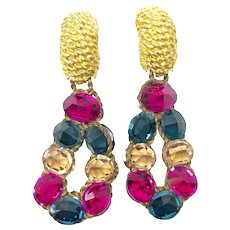 1980s Pink, Blue and Topaz Crystal Vintage Statement Drop Earrings