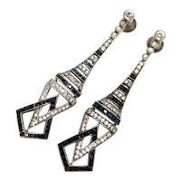 Knoll and Pregizer 1920s Art Deco 935 Silver and Paste Vintage Geometric Drop Earrings