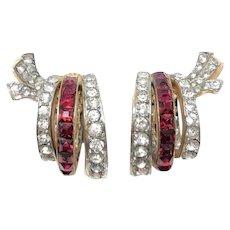 1940s Ruby Red Rhinestone Vintage Golden Hoop Earrings