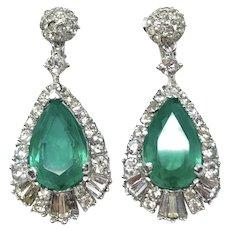 Marcel Boucher 1960s Flawed Emerald Crystal Vintage Drop Earrings