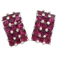 Jomaz Early 1950s Invisbly Set Ruby Rhinestone Vintage Earrings