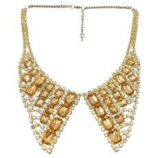 1960s Amber Rhinestone Vintage Shirt Collar Design Necklace