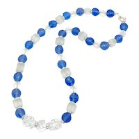 1920s Art Deco Blue Carved Glass Bead Vintage Necklace