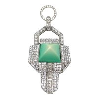 1920s Art Deco Green Celluloid and Rhinestone Vintage French Pendant