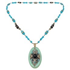 1920s Czechoslovakian Turquoise Glass Bead and Celluloid Pendant Vintage Necklace