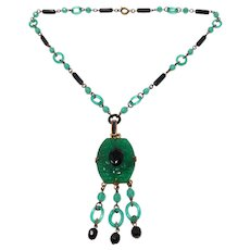 1920s Czechoslovakian Black and Green Glass Far Eastern Inspired Flapper Necklace