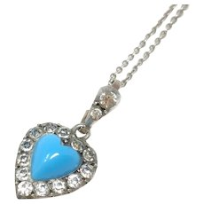 Victorian Paste and Turquoise Glass Antique Heart Pendant Necklace