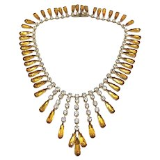 1950s French Couture Teardrop Rhinestone Vintage Necklace