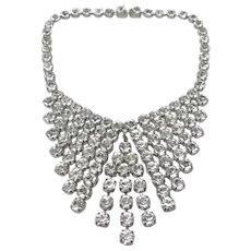 1930s Art Deco Colourless Rhinestone Vintage Collar Design Necklace