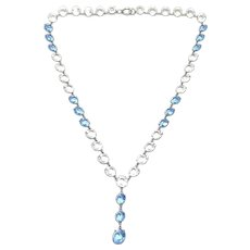 1920s Art Deco Colourless and Blue Crystal Vintage Necklace