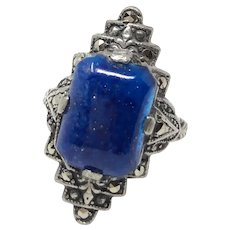 1920s Art Deco Marcasite and Blue Glass Vintage Ring
