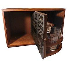 Mid Century Hidden Cocktail Bar in Book Case