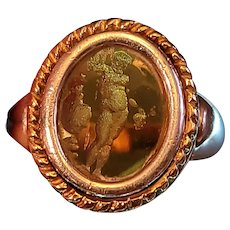 Vintage Sterling and 18k Amber Intaglio ring with etching of David. Made in Italy