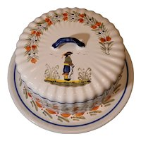 Quimper Faience Breton Covered Cheese Plate