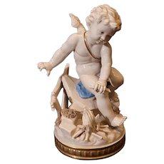 "Beautiful Vintage Algora Porcelain Cherub on stand. 8.5""x5"""
