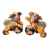 "Incredible vintage Wucai clay pair of foo dogs. Highly detailed. 8""x6"